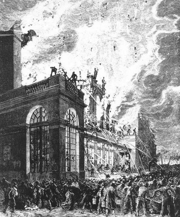 Paris Opera fire façade 29 10 1873 - Ecos de Paris II, O Fantasma das nossas Óperas, Paris está a arder