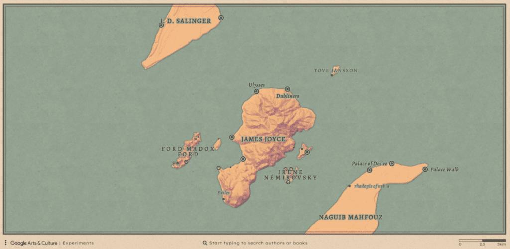 """ocean of books 6 1024x499 - Conheça o site """"An Ocean of Books"""" e explore as ilhas dos seus autores favoritos!"""